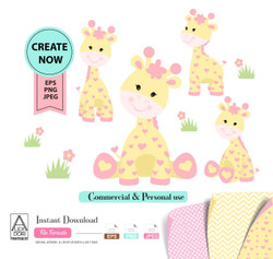 Girl Giraffe Clip art, Yellow baby giraffe with pink hearts for baby shower, nursery wall art, shower decoration, t-shirt. Vector,comm use