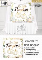 Little Pumpkins Table Backdrop, twins backdrop, doubles backdrop, two pumpkin, Gold floral fall baby shower Digital printable,Watercolor