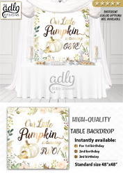 Birthday back drop our Little Pumpkin is turning ONE, TWO, THREE candy Table, bithday desert table backdrop, 1st birthday, 2nd, 3rd, first.Instant Download