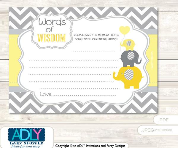 Yellow Grey Boy Elephant Words of Wisdom or an Advice Printable Card for Baby Shower,  Chevron