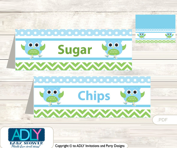 Printable Boy Owl Buffet Tags or Food Tent Labels  for a Baby Shower or Birthday , Spring, Blossom