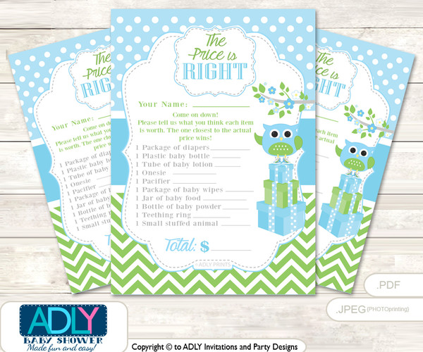 Printable Boy Owl Price is Right Game Card for Baby Owl Shower, Spring, Blossom