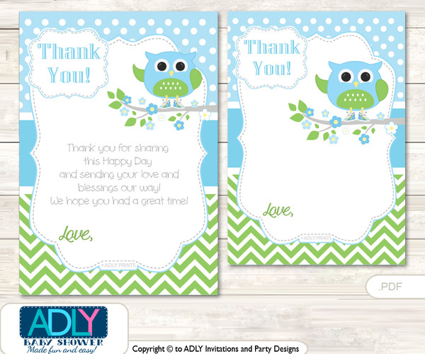 Boy  Owl Thank you Cards for a Baby Boy Shower or Birthday DIY Spring, Blossom