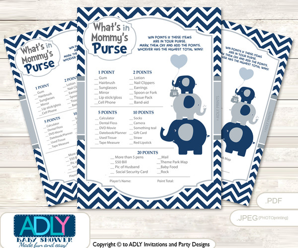 Boy Peanut What is in Mommy's Purse, Baby Shower Purse Game Printable Card , Blue Grey,  Chevron
