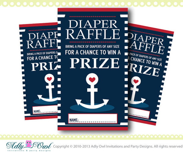 Anchor Diaper Raffle for Nautical Baby Shower in Navy, Blue, Red,Yellow, anchor, crab DIY- ONLY digital file - you print SKU41