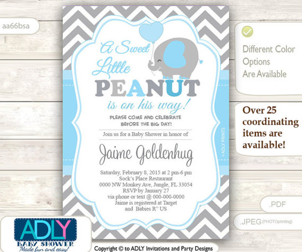 A Sweet Little Peanut Invitation, Elephant chevron grey baby blue elephant invitation, little peanut