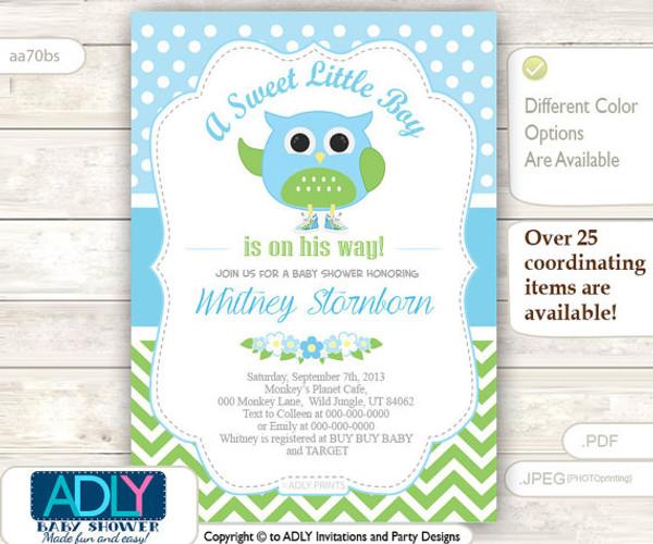 A Sweet Little Boy Owl Spring Invitation, chevron baby blue lime green owl invitation, little owl, polka dots, blossom shower