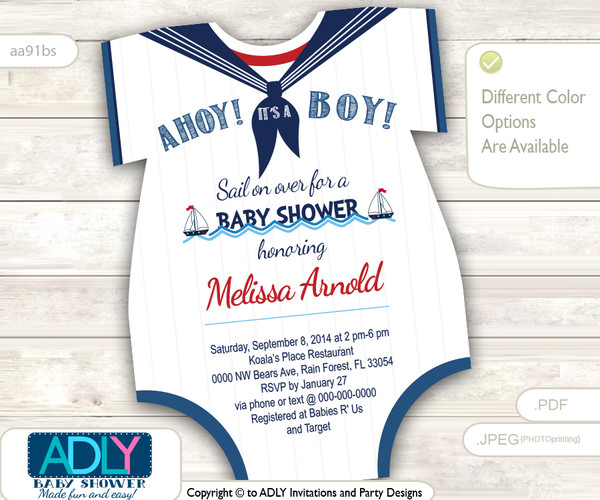 Nautical Onesies Baby Shower Invitation for a Baby Boy in Navy Blue, Red, White colors. Little Sailor shower invitation,sail on over