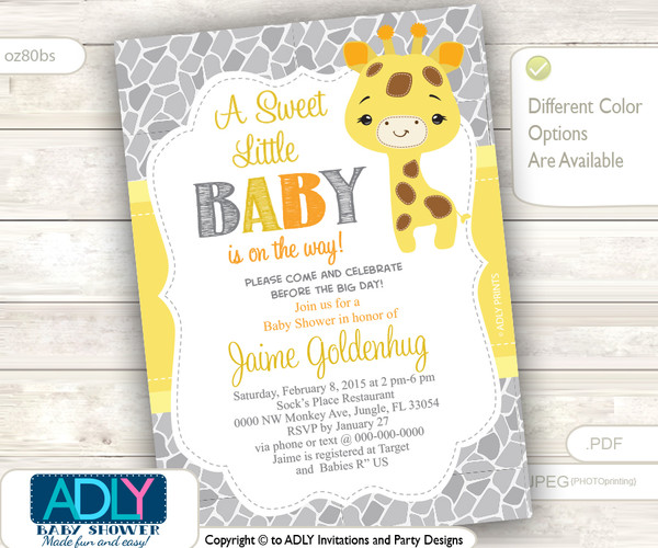 Gender Neutral Giraffe Invitation for Baby Shower, Gender Reveal, Unknown Gender Invitation