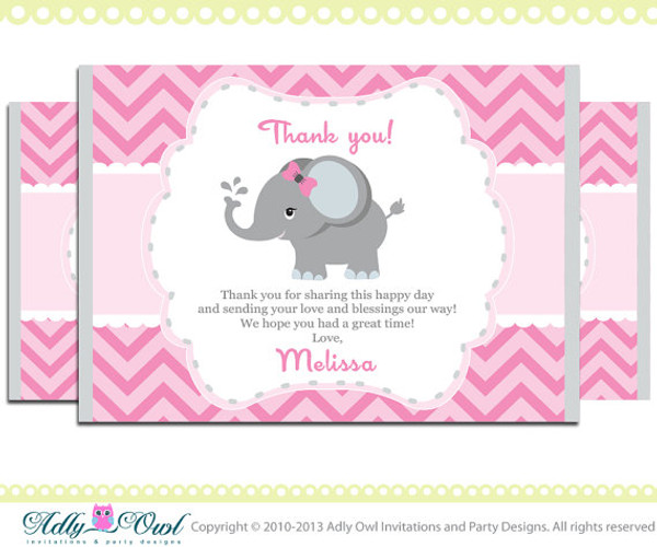 Elephant Thank You Card With Personalization Girl Elephant Baby