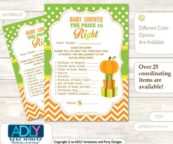 Printable Neutral Pumpkin Price is Right Game Card for Baby Pumpkin Shower, Green Orange, Chevron
