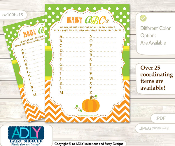 Neutral Pumpkin Baby ABC's Game, guess Animals Printable Card for Baby Pumpkin Shower DIY –Chevron