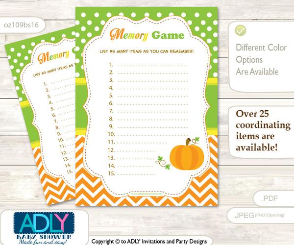 Neutral Pumpkin Memory Game Card for Baby Shower, Printable Guess Card, Green Orange, Chevron