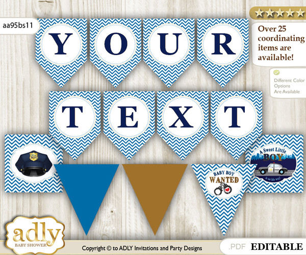 Personalized boy police printable banner for baby shower sheriff personalized boy police printable banner for baby shower sheriff chevron filmwisefo