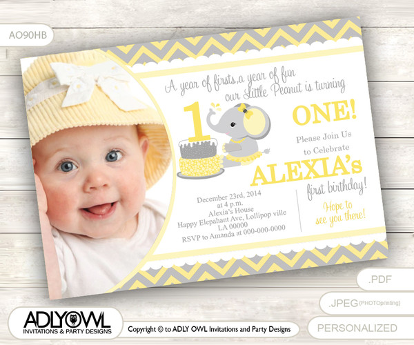 Yellow Grey Elephant First Birthday Invitation with Photograph, DIY card