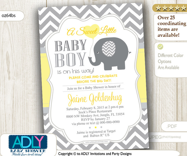 Yellow grey elephant with balloon chevron invitation for baby yellow grey elephant with balloon chevron invitation for baby shower for boy or gender filmwisefo