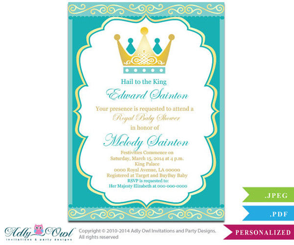 Teal Gold Little Prince Crown Royal Baby Shower Printable Diy Party