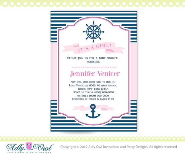 Top It's a Girl Nautical Baby Shower for Baby Girl Printable DIY party  KP89