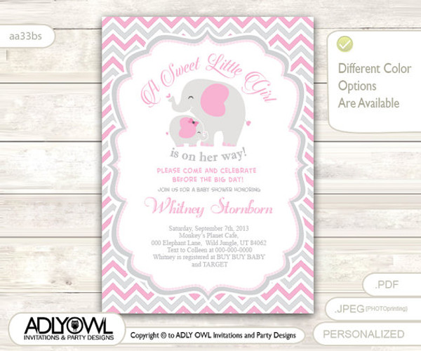 Grey pink elephant baby shower invitation card a sweet little girl grey pink elephant baby shower invitation card a sweet little girl is on her way filmwisefo