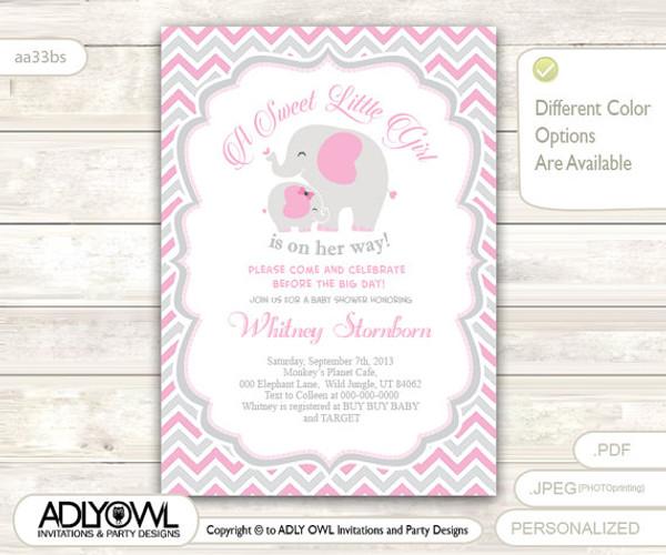 Grey pink elephant baby shower invitation card a sweet little girl grey pink elephant baby shower invitation card a sweet little girl is on her way stopboris Images