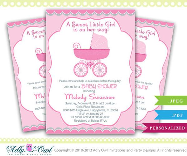 Girl Carriage Stroller Baby Shower Invitation Printable Girl