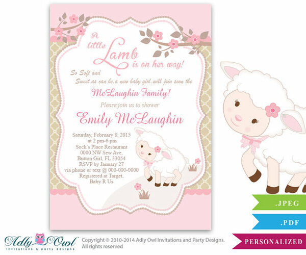 Little lamb girl baby shower invitation for a new baby girl little lamb girl baby shower invitation for a new baby girl printable sheeplamb filmwisefo