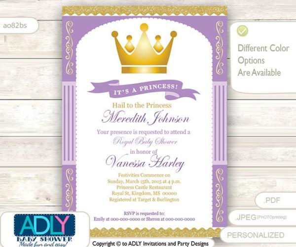 Purple gold princess baby shower invitation for girl stripes purple gold princess baby shower invitation for girl stripeslavender goldgolden filmwisefo