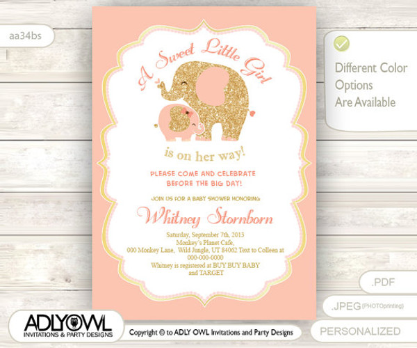 Excellent Coral Peach Pink Elephant Baby Shower Invitation card, A sweet  OY23