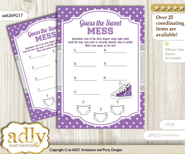 Girl Sneakers Dirty Diaper Game or Guess Sweet Mess Game for a Baby Shower Purple Grey, Sport