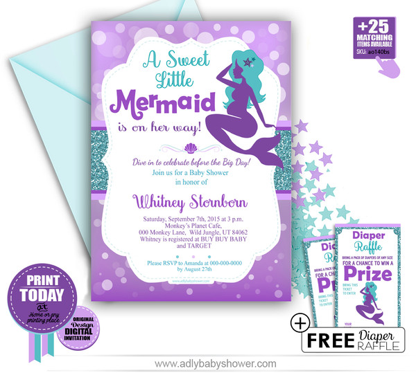DIY Editable Purple Teal, Turquoise Little Mermaid Baby Shower Invitation -INSTANT DOWNLOAD