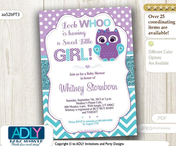 Look whoo is having sweet little girl teal turquoise purple owl look whoo is having sweet little girl teal turquoise purple owl invitation for baby filmwisefo