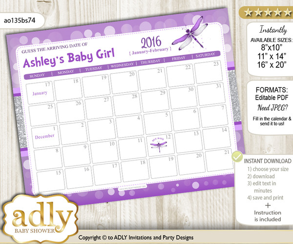 DIY Girl Dragonfly Baby Due Date Calendar, guess baby arrival date game
