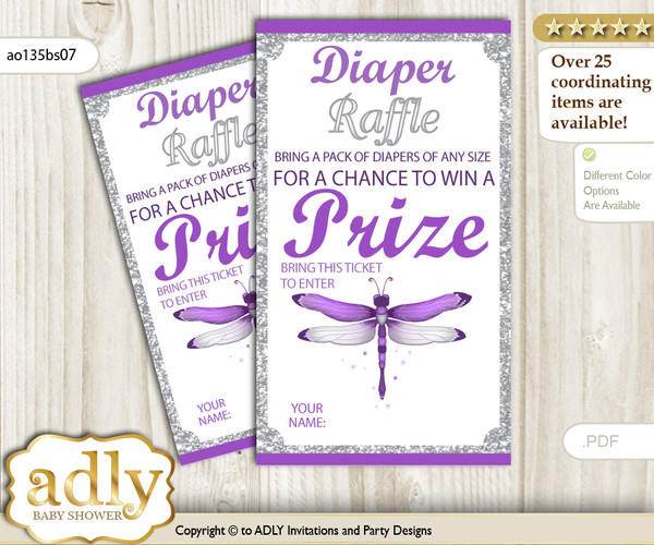 Girl Dragonfly Diaper Raffle Printable Tickets for Baby Shower, Purple Grey, Bokeh