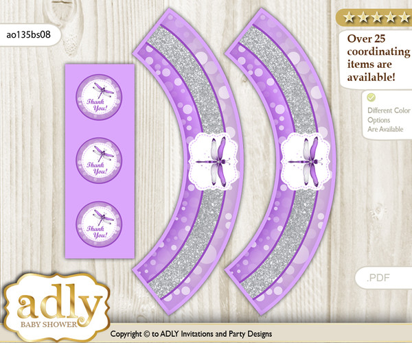 Printable Girl Dragonfly Cupcake, Muffins Wrappers plus Thank You tags for Baby Shower Purple Grey, Bokeh
