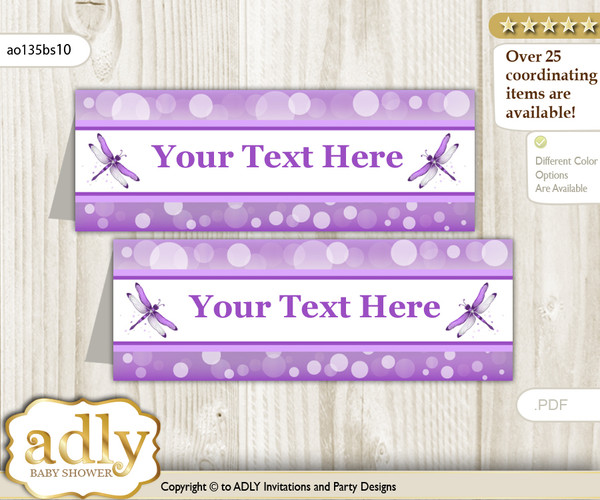 DIY Text Editable Printable Girl Dragonfly Buffet Tags or Food Tent Labels  for a Baby Shower or Birthday , Purple Grey, Bokeh