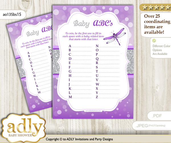 Girl Dragonfly Baby ABC's Game, guess Animals Printable Card for Baby Dragonfly Shower DIY – Bokeh