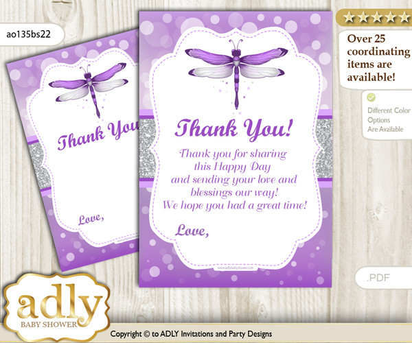 Girl  Dragonfly Thank you Cards for a Baby Girl Shower or Birthday DIY Purple Grey, Bokeh