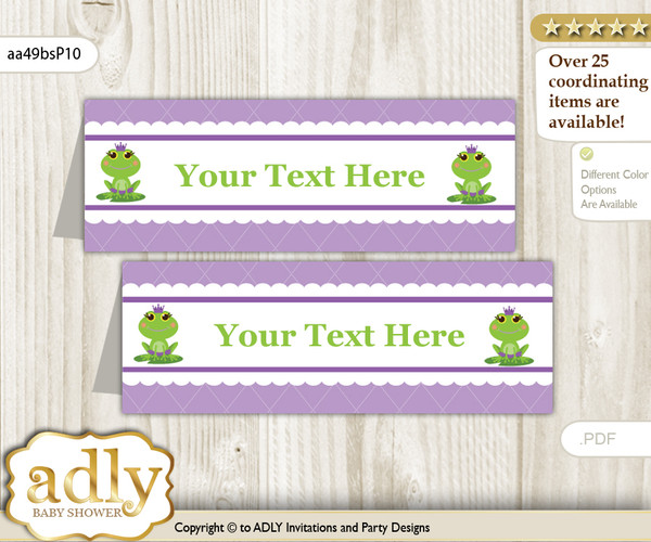 DIY Text Editable Printable Girl Frog Buffet Tags or Food Tent Labels  for a Baby Shower or Birthday , Green Purple, Polka