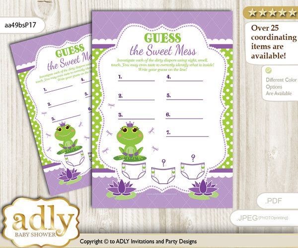 Girl Frog Dirty Diaper Game or Guess Sweet Mess Game for a Baby Shower Green Purple, Polka