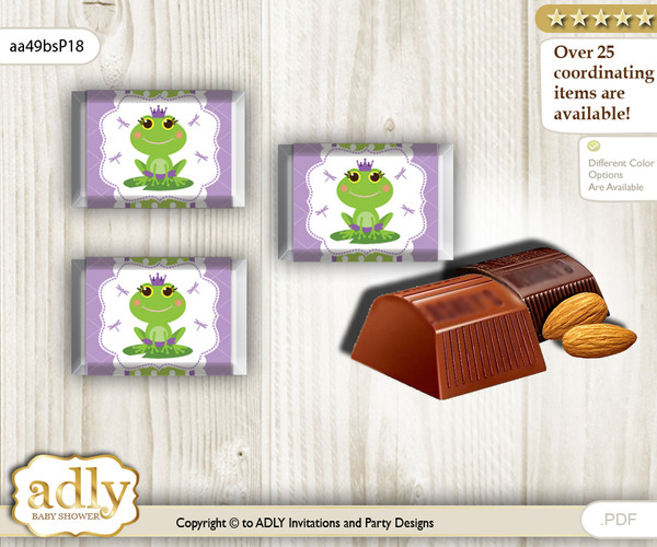 Girl Frog Chocolate Nuggets Candy Wrapper Label for Baby Girl Shower  Green Purple , Polka