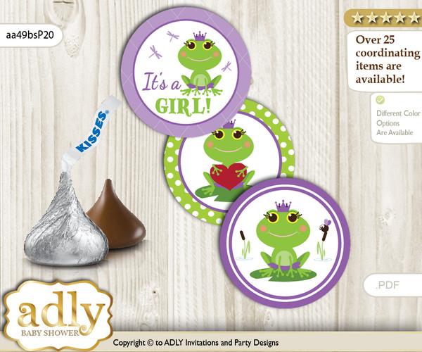 Printable  Girl Frog Candy Kisses for Baby Girl Shower DIY Green Purple , Polka
