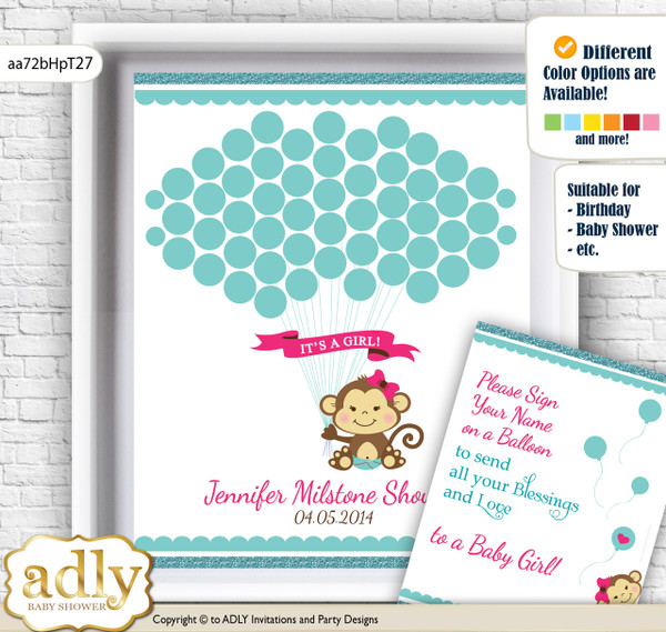 Girl Monkey Guest Book Alternative for a Baby Shower, Creative Nursery Wall Art Gift, Hot Pink, Glitter