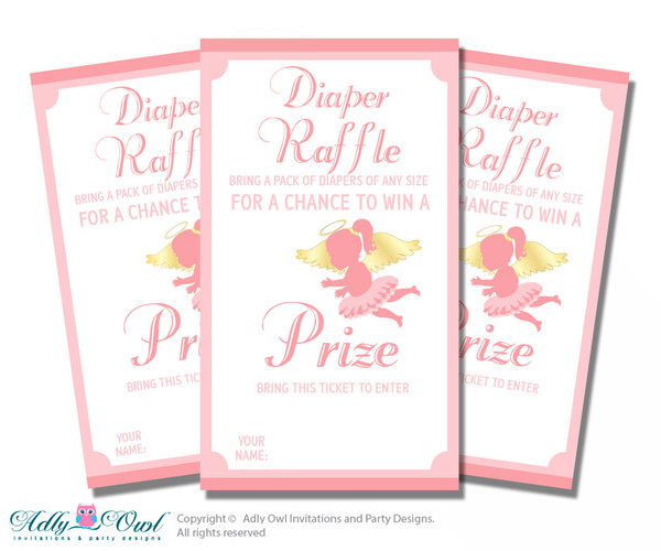 Little Angel Diaper Raffle Printable Tickets for Baby Shower, Gold, Pink