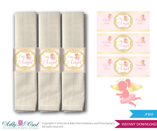Printable Little Angel Napkin Ring Label or Napkin Holders for Baby Shower, Gold, Pink