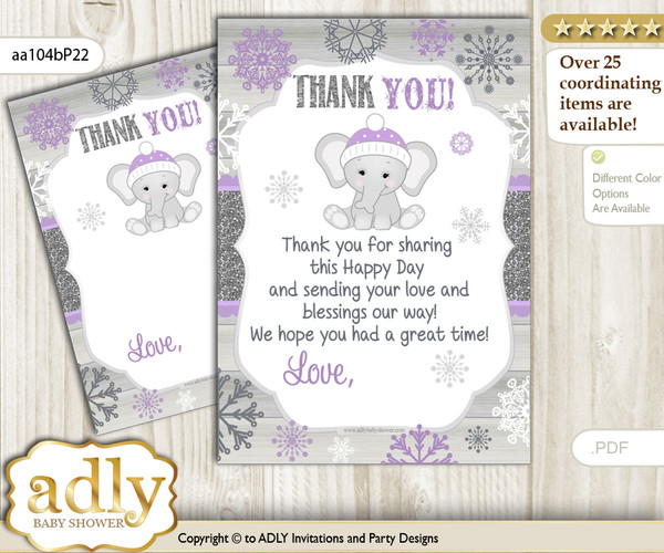 Girl  Elephant Thank you Cards for a Baby Girl Shower or Birthday DIY Purple Grey, Winter