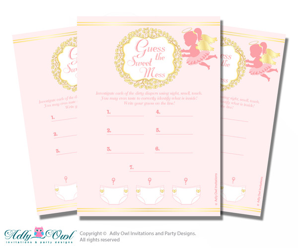 Little Angel Dirty Diaper Game or Guess Sweet Mess Game for a Baby Shower Gold, Pink