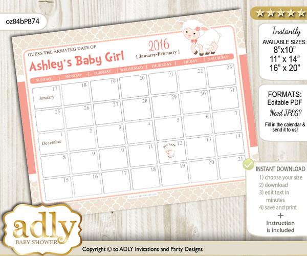DIY Girl Lamb Baby Due Date Calendar, guess baby arrival date game n