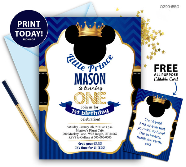 Prince Mickey invitation for Baby Shower royal blue text editable DIY free thank you card
