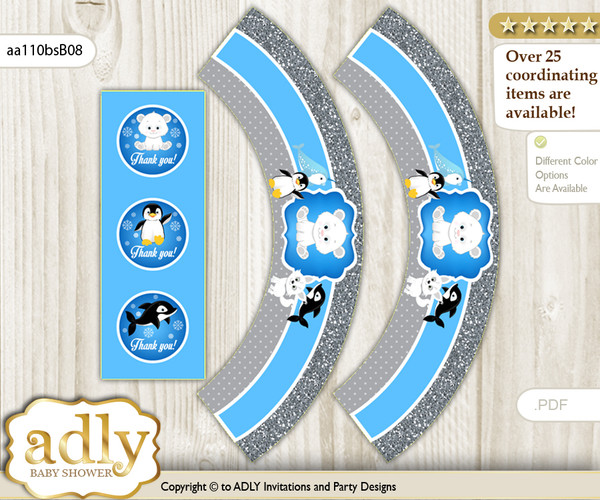 Printable Boy Arctic Cupcake, Muffins Wrappers plus Thank You tags for Baby Shower Blue Silver, Winter