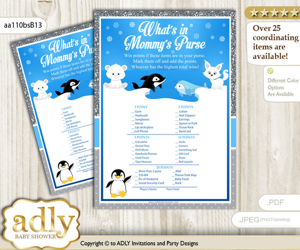 Boy Arctic What is in Mommy's Purse, Baby Shower Purse Game Printable Card , Blue Silver,  Winter